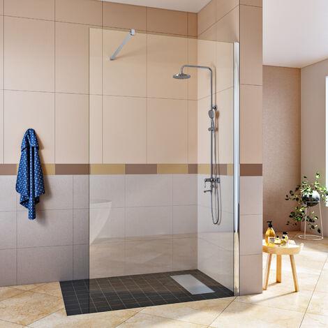 Porte de douche Transparente 8mm Verre + Caniveau de douche et grille pour caniveau en inox Siphon