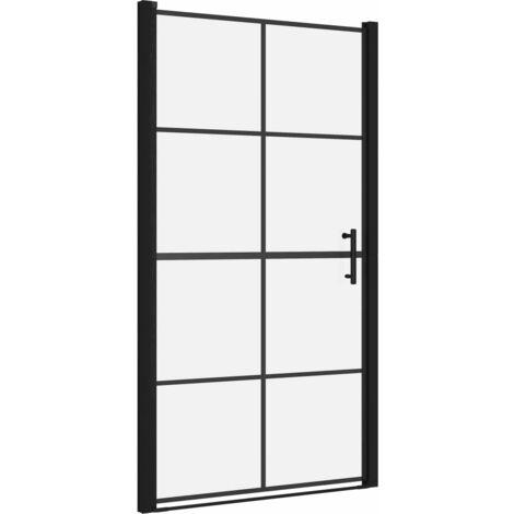 Porte de douche Verre trempé 100x178 cm Noir
