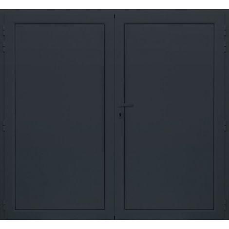 Porte de Garage Aluminium Isolé 2000x2420 mm - Couleur : Gris - Plusieurs tailles disponibles