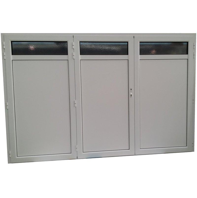 Porte de garage aluminium isol 3 vantaux standard h 2 00m x l 2 40m couleur blanche - Porte de garage 3 vantaux aluminium ...