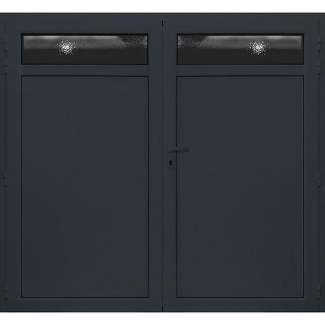 Porte de Garage Aluminium Isolé Avec Hublots 2000x2420 mm - Couleur : Gris - Plusieurs tailles disponibles