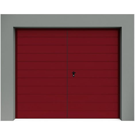 Porte de Garage Battante à Rainures larges horizontales