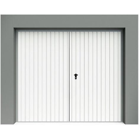 porte de garage battante rainures verticales blanche. Black Bedroom Furniture Sets. Home Design Ideas