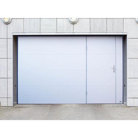 Porte de garage blanche à contrepoids avec portillon 2400 x 2000mm - EUROSYSTEMES