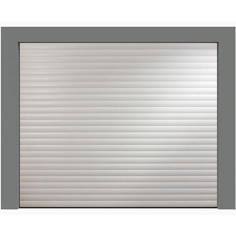 Porte de garage enroulable blanche 240x200 cm lames 77mm
