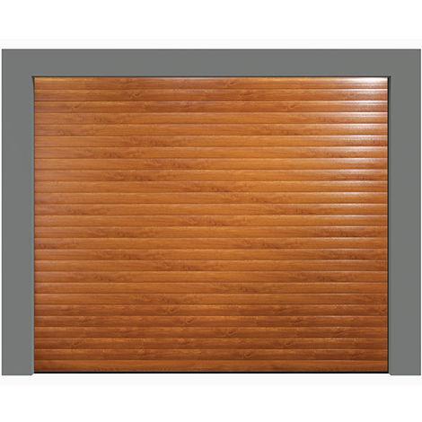 Porte de garage enroulable chêne doré 240x200 cm lames 77mm