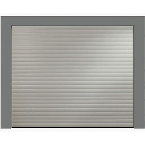 Porte de garage enroulable grise 9006 240x200 cm lames 77mm
