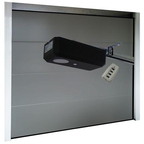 Porte de Garage Sectionnelle 40 mm 2400 x 2000 mm Lisse - Couleur : Gris - Plusieurs largeurs disponibles