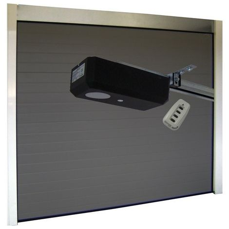 Porte de Garage Sectionnelle 40 mm 2400 x 2000 mm Nervurée - Couleur : Gris - Plusieurs largeurs disponibles