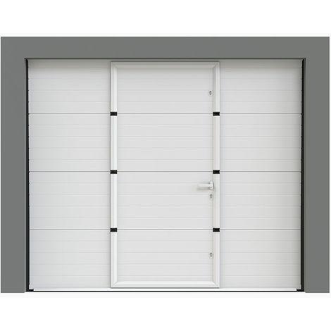 Porte de garage sectionnelle à rainures 240x200 cm avec portillon intégré