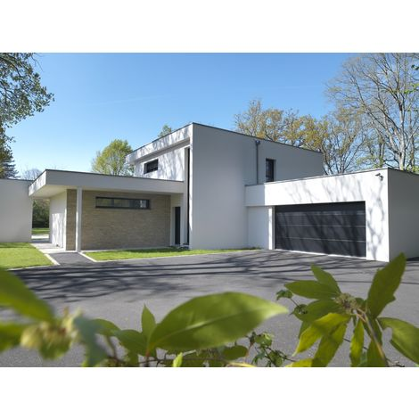 Porte de garage sectionnelle ISO 45 kit motorisée - Novoferm - Sans nervures - Finition lisse - Satin Dark Grey RAL 7016 - 2375x2000mm