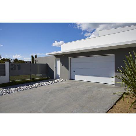 Porte de garage sectionnelle ISO 45 kit motorisée - Novoferm - Sans nervures - Finition lisse - Satin White RAL 9016 - 2375x2000mm