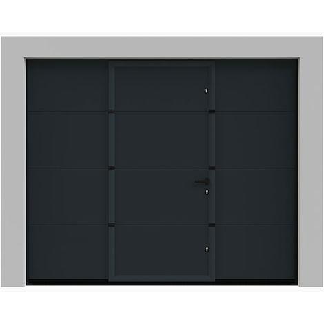 Porte de garage sectionnelle lisse grise anthracite 7016 240x200 cm avec portillon int?gré