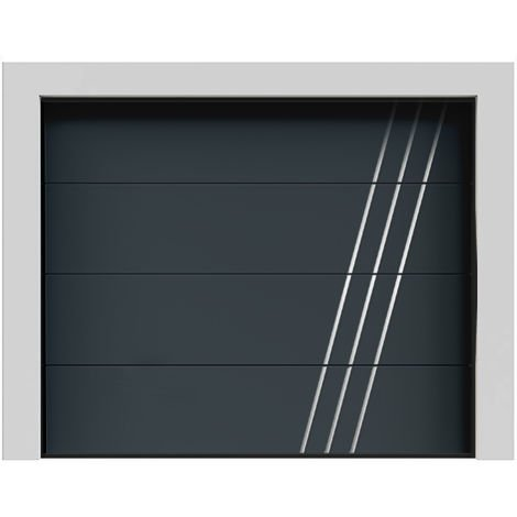 Porte de garage sectionnelle lisse grise anthracite « Everest » 7016 240x200 cm