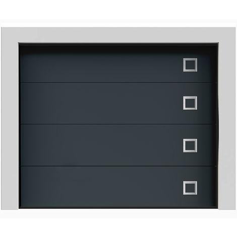 Porte de garage sectionnelle lisse grise anthracite «Fuji» 7016 240x200 cm