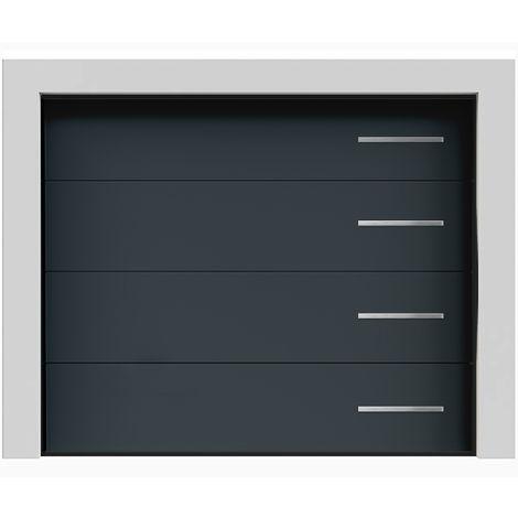 Porte de garage sectionnelle lisse grise anthracite «Olympe» 7016 240x200 cm