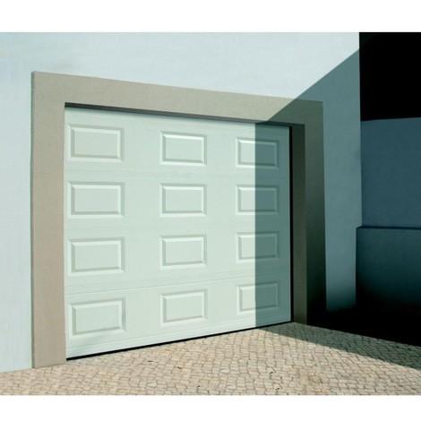 Porte de garage sectionnelle motorisée finition blanc à cassettes RAL 9010
