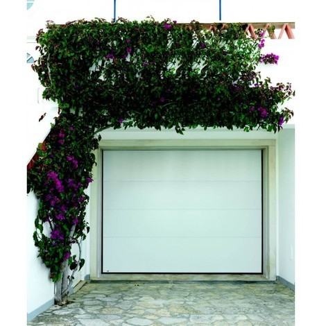 Porte de garage sectionnelle motorisée finition blanc avec 4 panneaux lisses