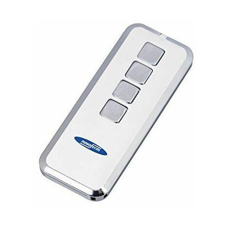 Porte de garage télécommande/émetteur manuel Mini NOVOTRON 524Design–émetteur 4canaux avec changement de keeloq CODE, 64O. 128bits cryptage–433MHz, argenté/blanc, (Pile bouton inclus