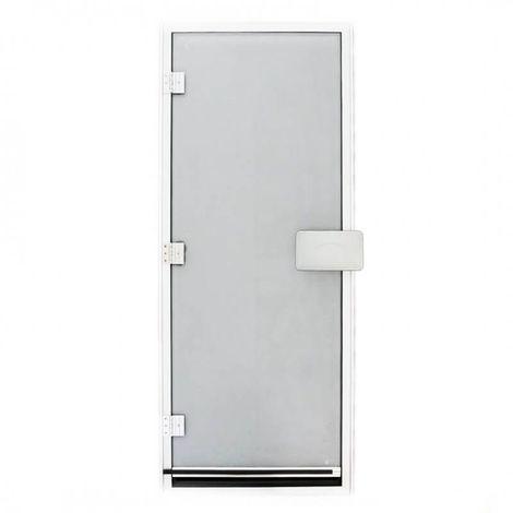 Porte de hammam 185,5 x 78 cm opaquegivré verre sécurite 8mm avec seuil