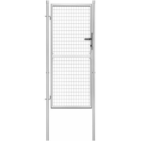 Porte de jardin Acier galvanisé 105x225 cm Argenté
