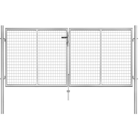 Porte de jardin Acier galvanise 306x150 cm Argente