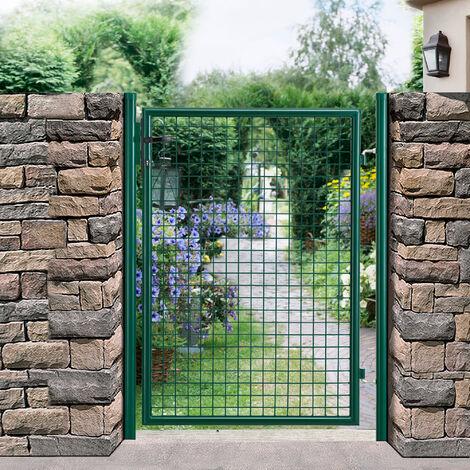 Porte de jardin zingué [100x150cm] vert- incl serrure et 3 clés -