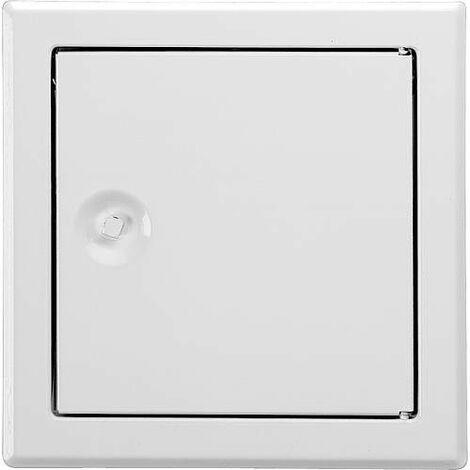 Porte de révision SOFTLINE blanche fermeture à 4 pans, acier galva encastrement 200 x 200mm