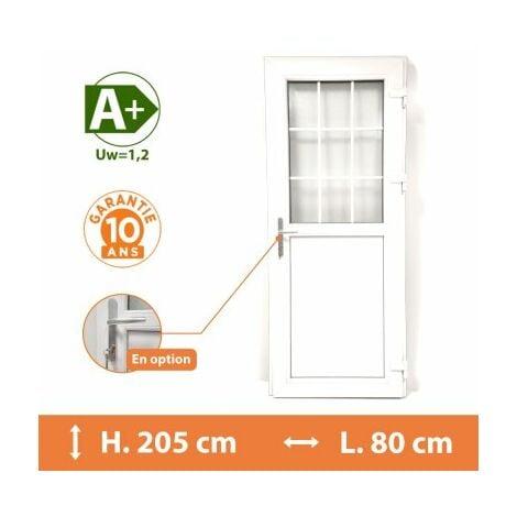 Porte de service 1/2 vitrée croisillons - Blanc - Tirant Droit - H.205 x l.80 cm - Blanc