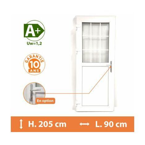 Porte de service 1/2 vitrée croisillons - Blanc - Tirant Droit - H.205 x l.90 cm - Blanc