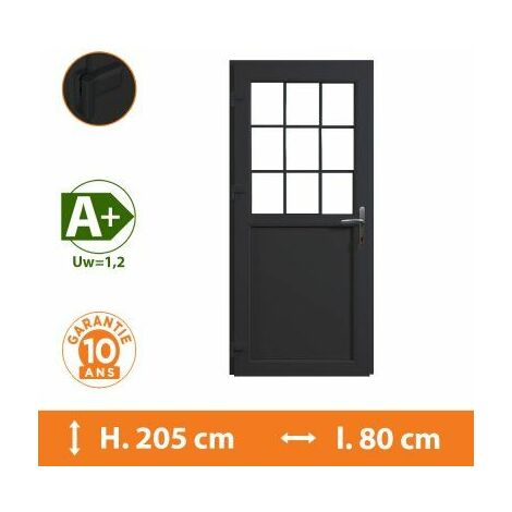 Porte de service 1/2 vitrée croisillons - Gris - Tirant Gauche - H.205 x l.80 cm - Gris