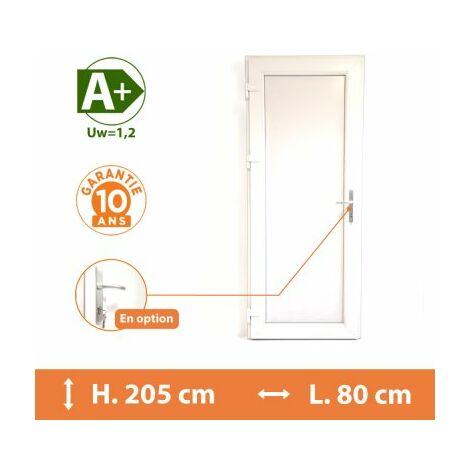 Porte de service pleine - Blanc - Tirant Droit - H.215 x l.80 cm - Blanc