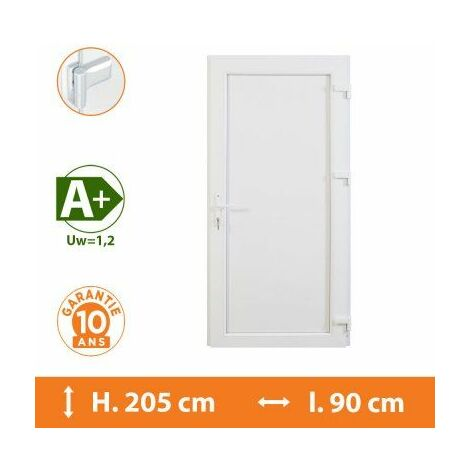 Porte de service pleine - Blanc - Tirant Droit - H.215 x l.90 cm - Blanc