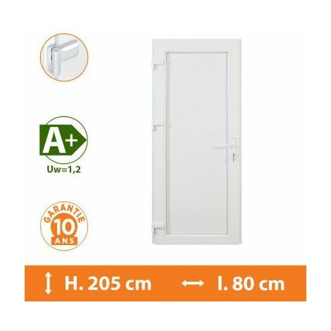 Porte de service pleine - Blanc - Tirant Gauche - H.215 x l.80 cm - Blanc