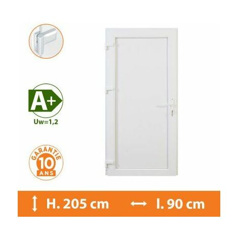 Porte de service pleine - Blanc - Tirant Gauche - H.215 x l.90 cm - Blanc