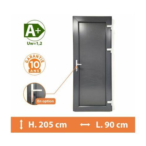 Porte de service pleine - Gris - Tirant Gauche - H.215 x l.90 cm - Gris