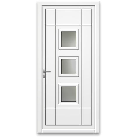 Porte d'entrée aluminium 75 mm poussant droit GP1 blanc 90 x 215 cm