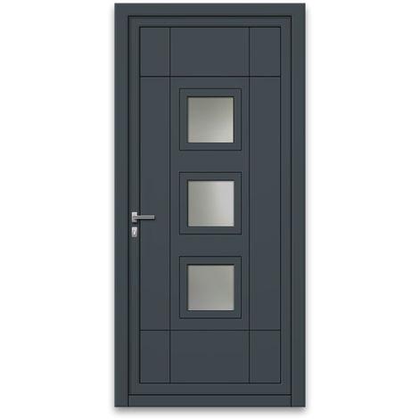 Porte d'entrée aluminium 75 mm poussant droit GP1 gris anthracite 90 x 215 cm