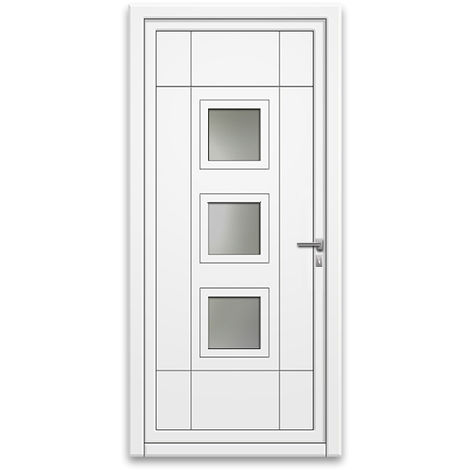 Porte d'entrée aluminium 75 mm poussant gauche GP1 blanc 90 x 215 cm