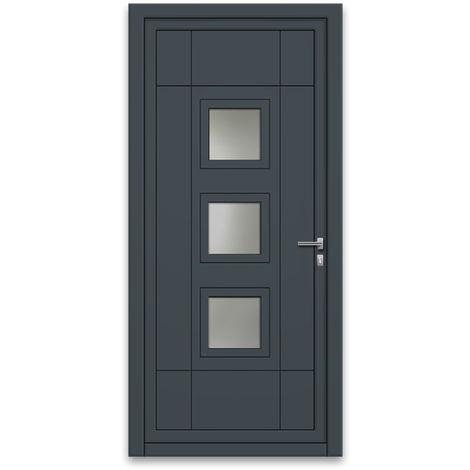 Porte d'entrée aluminium 75 mm poussant gauche GP1 gris anthracite 90 x 215 cm