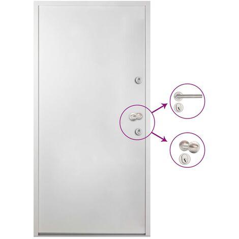 Porte d'entrée Aluminium Blanc 90x200 cm