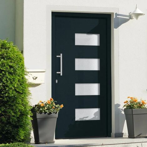 Porte d'entrée Aluminium et PVC Anthracite 100x200 cm