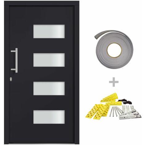 Porte d'entrée Aluminium et PVC Anthracite 100x210 cm