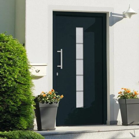 Porte d'entrée Aluminium et PVC Anthracite 110x210 cm