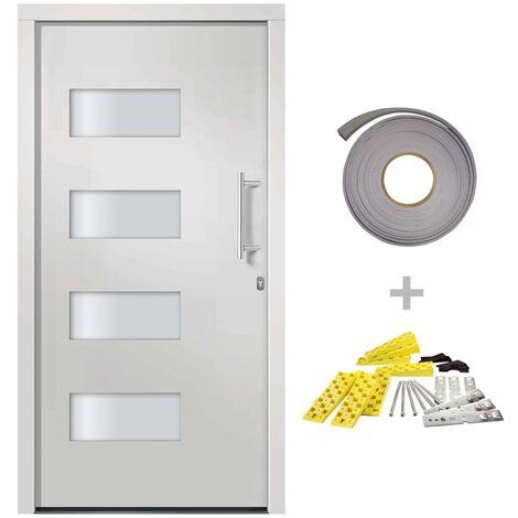 Porte d'entrée Aluminium et PVC Blanc 100x200 cm