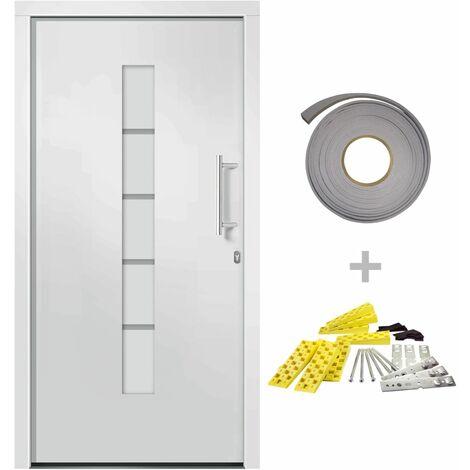 Porte d'entrée Aluminium et PVC Blanc 100x210 cm