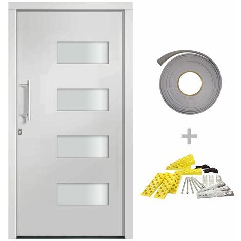Porte d'entrée Aluminium et PVC Blanc 110x210 cm