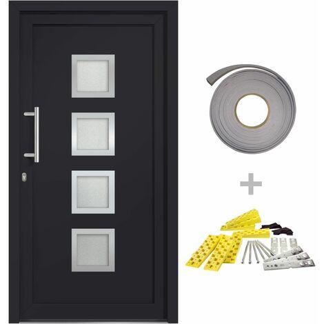 Porte d'entrée Anthracite 98x190 cm