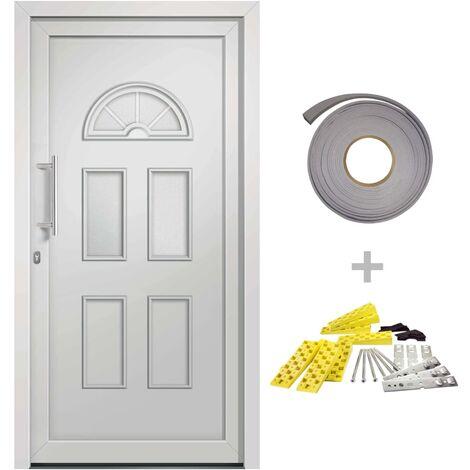 Porte d'entrée principale Blanc 88x208 cm