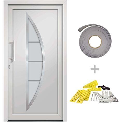 Porte d'entrée principale Blanc 98x190 cm